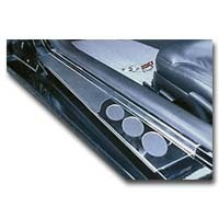 1997 - 2004 Pair Door Step Plates Chrome with simulated Carbon Fiber Inserts