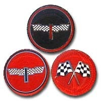 Emblem, set of 4 / aftermarket spinner (black checker flags)