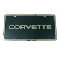"Corvette Front License Plate - ""Corvette"" Lettered Black with Chrome"