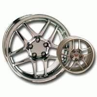 Wheel, chrome Z06 17 x 9.5 with cap
