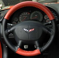 "1994 - 2005 Cover, steering wheel leather wrap two-tone ""Black & Red"""