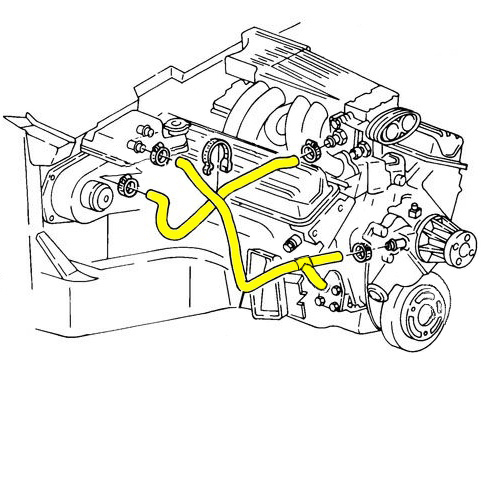 Hose Set Engine Radiator Coolant Heater L98 Engine With Kc4 Oil Cooler Option 1990 1991 on oem gm parts diagrams