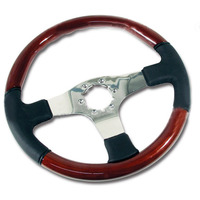 1977 - 1979 Steering Wheel, black leather/mahogany look with tilt & telescopic column (aftermarket)