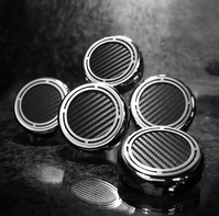 1997 - 2013 Fluid Cap Cover Set with Brushed Stainless Steel and Simulated Carbon Fiber