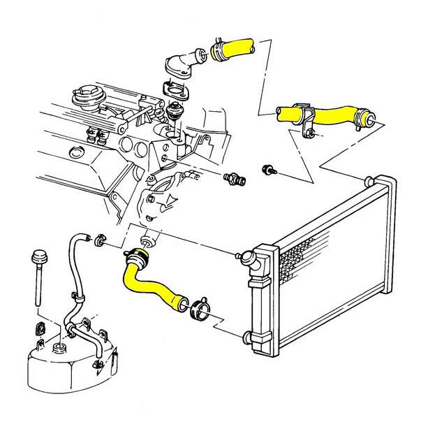 1986 Corvette Engine Cooling System Rubber Hose Set Coupe Without Kc4 Corvetteparts Com